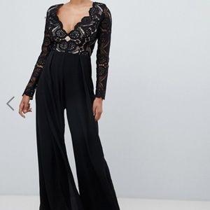 ASOS Black Lace Long Sleeve Wide Leg Jumpsuit Sz 6